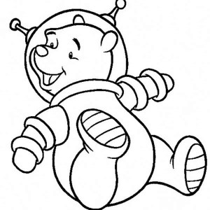 Winnie The Pooh On The Astronaut Spacesuit Coloring Page