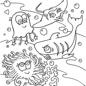 Cute Jellyfish Shark And Mantaray Coloring Page