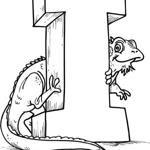Green Iguana With Letter I Coloring Page For Kids