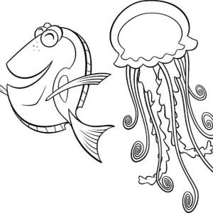 Happy Fish Has Jellyfish As A Friend Coloring Page