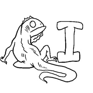 Iguana And A Big Letter I Coloring Page