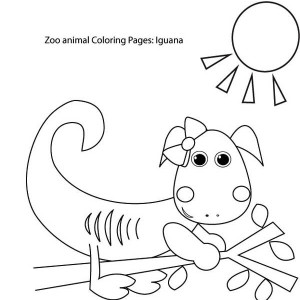 Iguana Sun Bathing Coloring Page