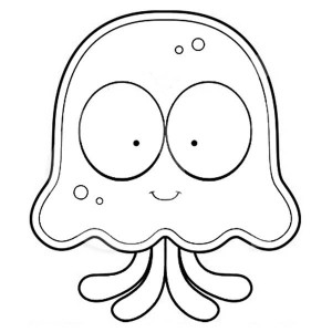 Jellyfish Cartoon Coloring Page