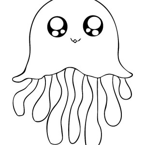 Jellyfish Cute Icon Coloring Page