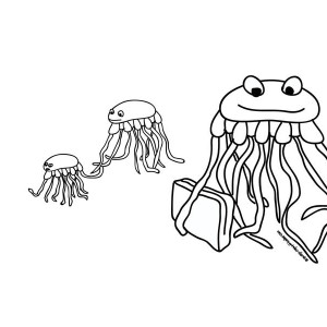 Jellyfish Family Coloring Page