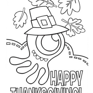 Mr Jellyfish Says Happy Thanksgiving Coloring Page