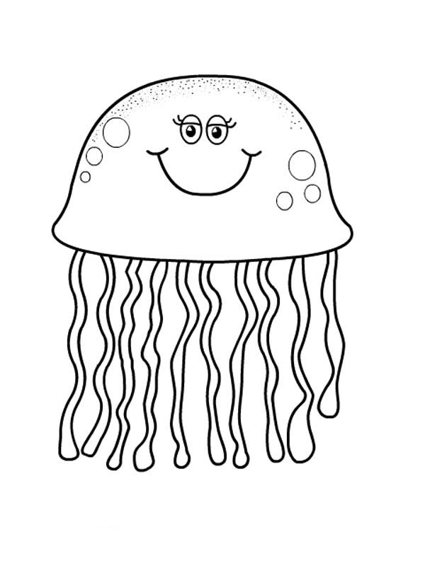 jelly coloring pages | Pretty Eyes Jellyfish Coloring Page - Download & Print ...