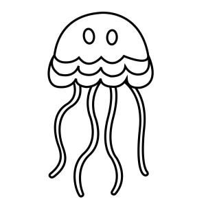 Simple Cartoon Jellyfish Coloring Page