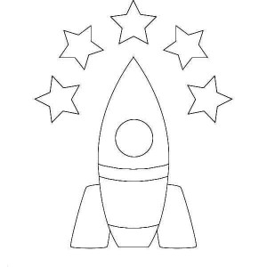 5 Star Rocket Ship Coloring Page