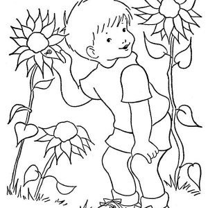 A Boy And Sunflower Coloring Page