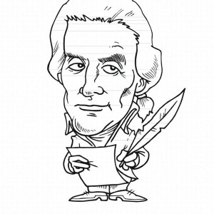 A Caricature Of Thomas Jefferson For Presidents Day Coloring Page
