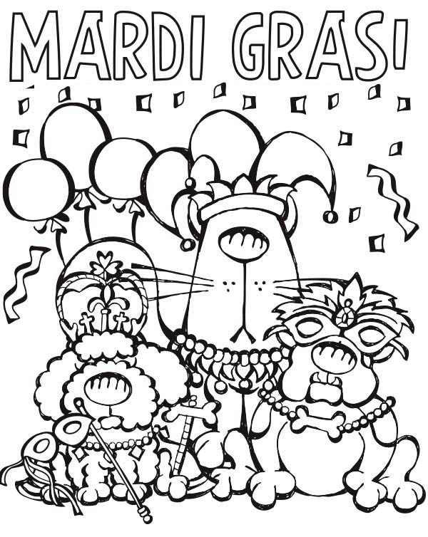 Cartoon Characters Parade On Mardi Gras Coloring Page ...