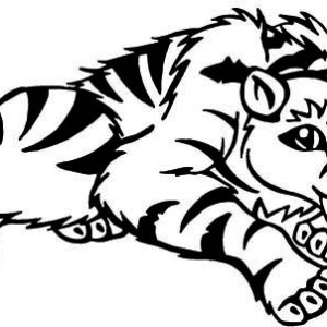 A Cartoon Illustration Of Sabretooth Tiger Coloring Page