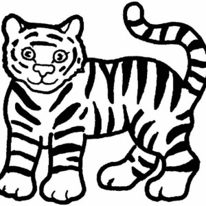 A Cute Cartoon Drawing of Tiger Cub Coloring Page