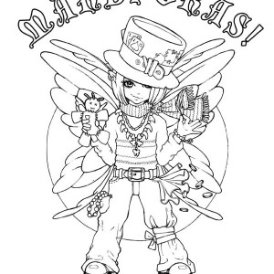 A Cute Little Girl On His Mardi Gras Costume Coloring Page