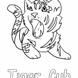 A Cute Roaring Of Little Tiger Cub Coloring Page