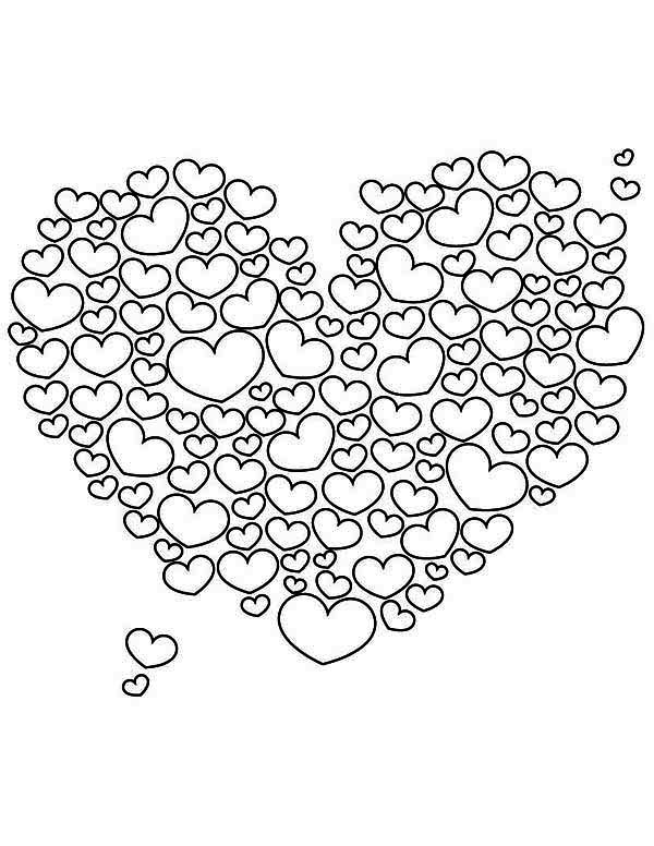 A Giant Heart Shaped Cloud On Valentine S Day Coloring Page