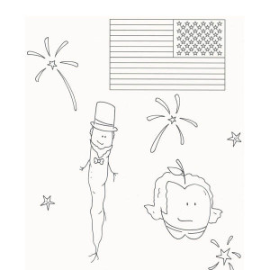A Kids Drawing In Celebrating Presidents Day Coloring Page