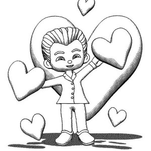 A Neat Boy In A Suit Ready For Valentine's Day Date Coloring Page