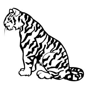 A Relaxed Tiger On Its Sitting Posture Coloring Page