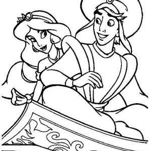 A Romantic Evening Ride Of Aladdin And Jasmine Coloring Page