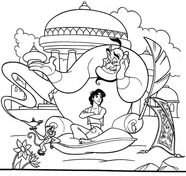 Abu Aladdin And Genie Have A Relax In Palace Garden Coloring Page