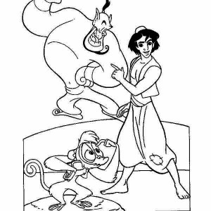 Abu Genie And Aladdin In One Of Their Adventure Coloring Page