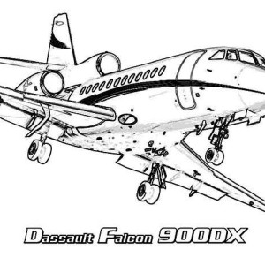 Airplane Dassult Falcon 900DX Coloring Pages For Kids