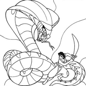 Aladdin Fights Jafar Who Turns Into A Giant Cobra Coloring Page