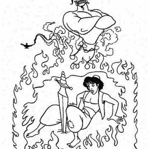 Aladdin Fights The Evil Genie Coloring Page