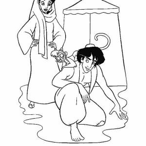 Aladdin, Jasmine And Abu Tracking The Trail Coloring Page