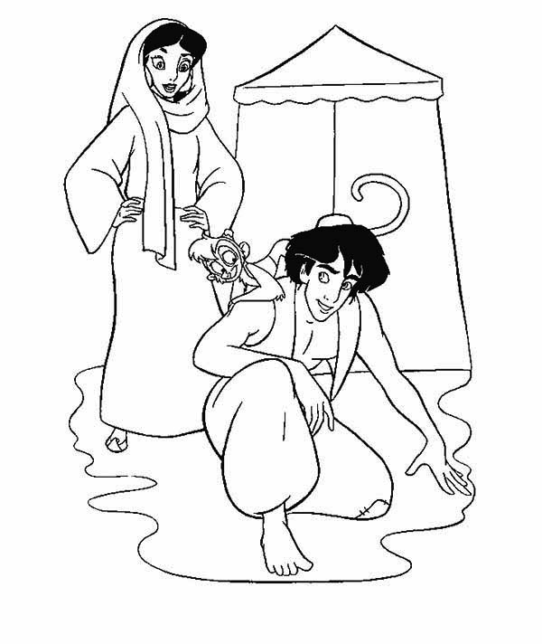 Aladdin and Prince Jasmine Coloring Pages - Free Printables ... | 712x600