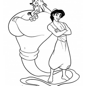 Aladdin And Genie, The Two Buddies Coloring Page