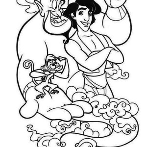 Aladdin And His Two Companion, Abu And Genie Coloring Page