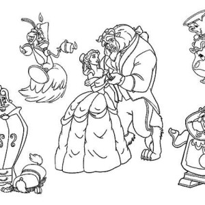 All The Beauty And The Beast Characters Coloring Page