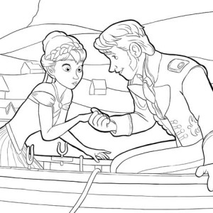 Anna And Hans On The Boat Coloring Page