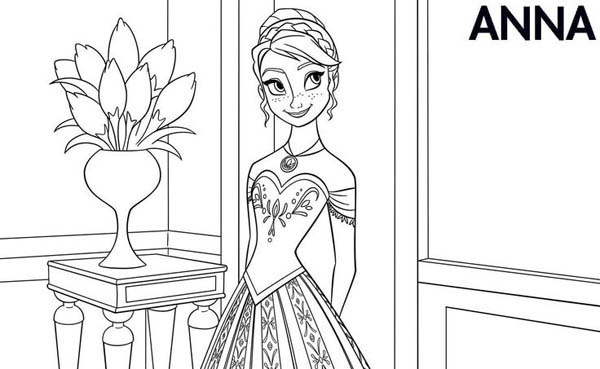 Anna In Beautiful Dress Coloring Page - Download & Print ...