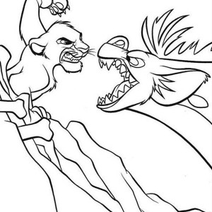 Awesome Simba And Hyena Fighting Coloring Page