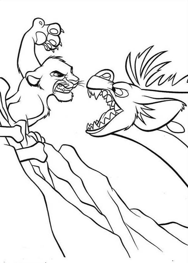 Awesome Simba And Hyena Fighting Coloring Page Download