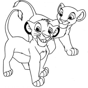 Awesome Simba And Nala Coloring Page