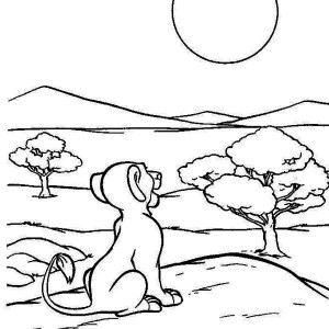 Awesome Simba And The Sun Coloring Page