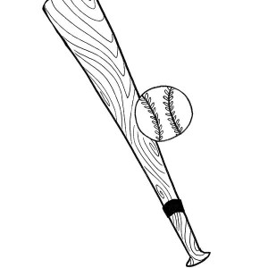 Baseball Bat And Ball Coloring Page