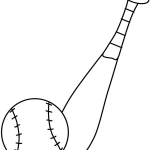 Baseball Bat And A Ball Coloring Page