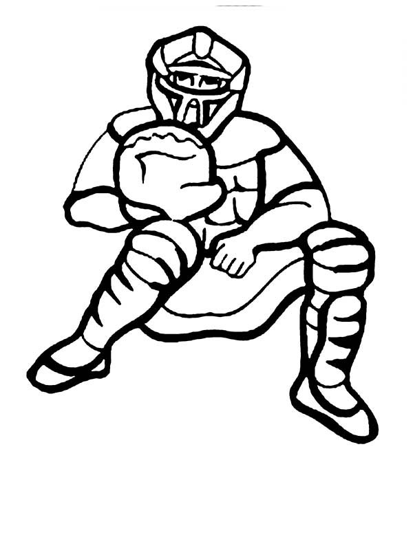 Baseball Catcher Coloring Page Download Print Online Coloring