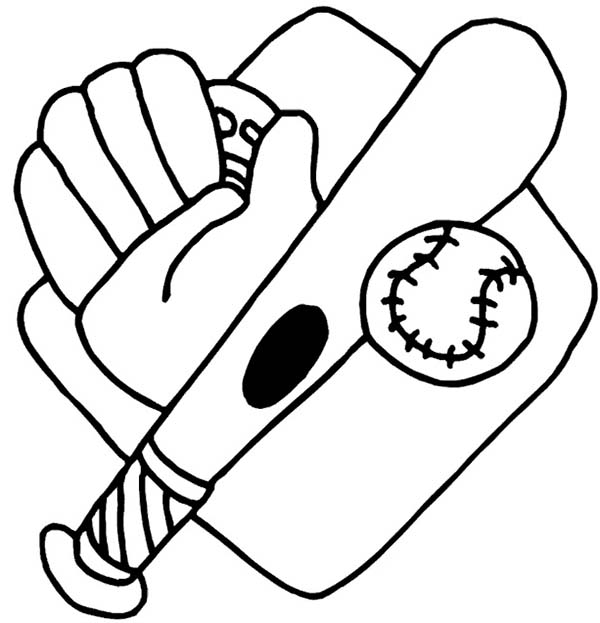 Mlb coloring pages baseball glove ~ Baseball Glove, Bat, Ball And Mount Coloring Page ...