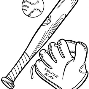 Baseball Glove, A Ball And A Bat Coloring Page