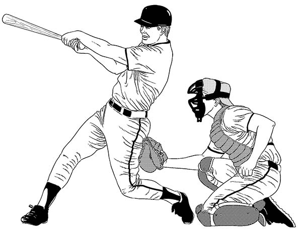 Baseball Player Hitting A Homerun Coloring Page Download Print