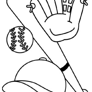 Bat, Glove, Hat And Baseball Coloring Page