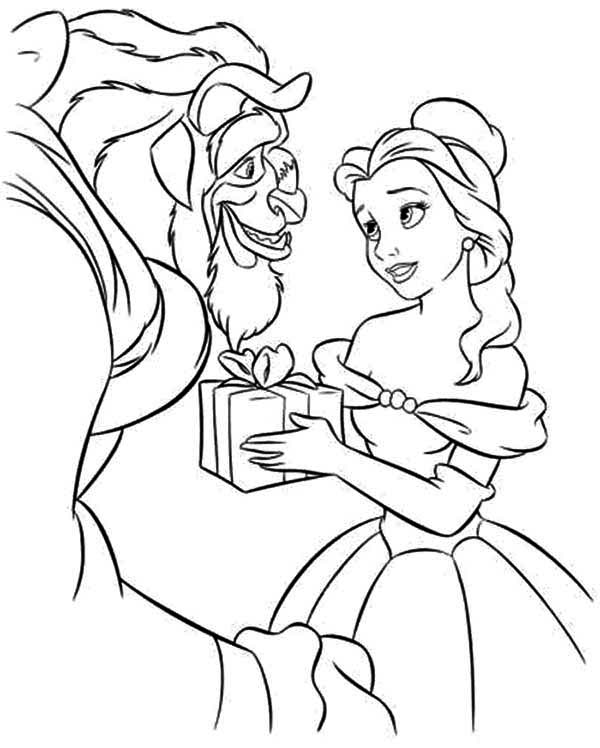 Belle Give The Beast A Present Coloring Page - Download ...
