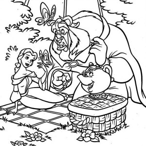 Belle, Mrs Potts And The Beast On Picnic Coloring Page